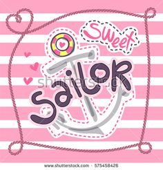 Hand drawn anchor cut line with rope frame on pink and white striped background illustration vector.