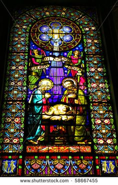 stained-glass window in Basilica at the Montserrat Monastery in the mountains near Barcelona, Catalonia, Spain