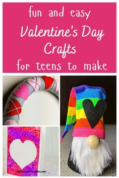 Looking for a fun and unique Valentine's Day craft for teens? I'm sharing over 20 projects that are perfect for older kids. There are all kinds of different projects to choose from, like paper crafts, garland, no-sew fleece hearts, a cute wreath, and a ton more. Kids can make these heart-themed projects to give away to family, friends, or to keep for themselves. There's also plenty that would make cool holiday decor. Activities For Teens, Valentine Activities, Valentine Day Crafts, Diy Crafts For Tweens, Easy Diy Crafts, Kids Crafts, February Holidays, Garland, Hearts