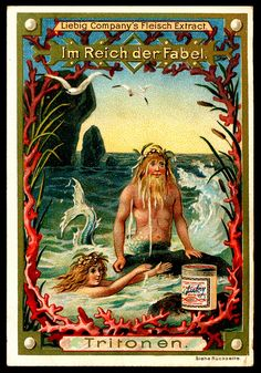 """Liebig's Beef Extract """"In the Realm of Fables"""" German issue, 1896 Fantasy Mermaids, Real Mermaids, Mermaids And Mermen, Mythical Creatures, Sea Creatures, Sirens, Dragons, Tarot, Mermaid Fairy"""