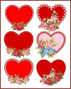 Vintage Hearts with Roses, Red, Blue, Pink  - Digital Download - Scrapbook .  via Etsy... By Artist Unknown...