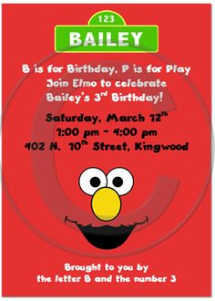 Elmo Inspired Birthday Party Invitations, Sesame Street Party Invitations
