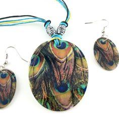 Painted natural shells necklace set.. Seashell Necklace, Shell Necklaces, Necklace Set, Peacock Pattern, Happy Shopping, Mall, Dangle Earrings, Promotion, Shells