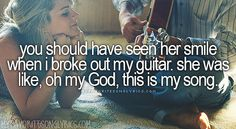 """You should have seen her smile when I broke out my guitar. She was like, oh my God, this is my song."" - Luke Bryan, 'Play It Again' Country Music Quotes, Country Music Lyrics, Country Songs, Country Girls, Country Playlist, Country Life, Music Love, Music Is Life, Love Songs"