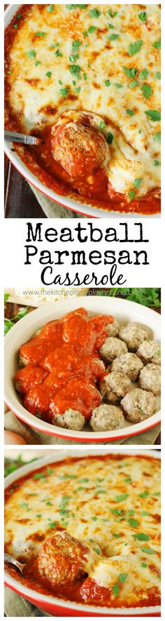 Easy Meatball Parmesan Casserole ~ Bake up just five simple ingredients to enjoy this cheesy, saucy goodness! Spoon over noodles or warm garlic bread slices for one super easy & satisfying meal. #meatballs #easydinners #easyrecipes www.thekitchenismyplayground.com