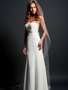 Eden SL037-  Luxe Chiffon gown elegantly made strapless with a sweetheart and embellished with Lace. This gown is made with a sheer back and chapel length train