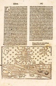 Lámina: capítulo del mundo y de los cuerpos celestiales (p.2). En: De propietatibus rerum (en castellano) / [Bartholomaeus Anglicus ; trad. por Fray Vicente de Burgos]-Emprimido en la noble ciudad de Tholosa : por Henrique Meyer ... , 18 de septiembre de 1494. Enciclopedia medieval que alcanzó gran difusión. Acceso al texto en UCM http://absysnetweb.bbtk.ull.es/cgi-bin/abnetopac01?TITN=223192
