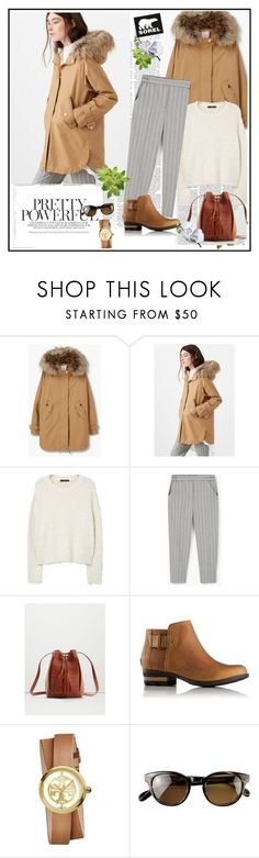 """""""Kick Up the Leaves (Stylishly) With SOREL: CONTEST ENTRY"""" by marthalux ❤ liked on Polyvore featuring MANGO, SOREL, Tory Burch, Oliver Peoples, Victoria Beckham and sorelstyle"""
