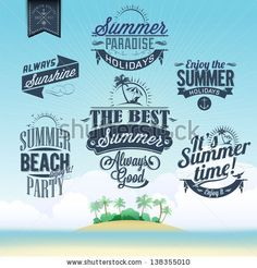 Retro elements for Summer calligraphic designs | Vintage ornaments | All for Summer holidays | tropical paradise, sea, sunshine, weekend tour, beach vacation, adventure labels | vector set - stock vector