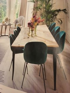 Rustic table with velvet chairs