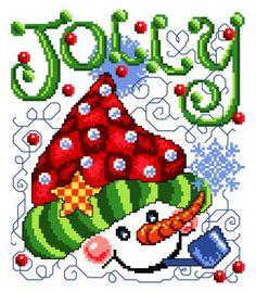 Jolly Hat - Christmas cross stitch pattern designed by Ursula Michael. Category: Snowmen.