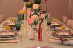 mesa posta | Mesa Posta Simples com Oncinha, Turquesa e Rosa