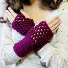 20 FREE Crochet Patterns That Use The Unique Bullion Stitch: Bullion Stitch Fingerless Gloves Free Crochet Pattern