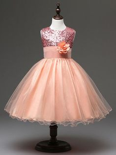 Sequined Flower Girl Dress with Flower Belt Detail