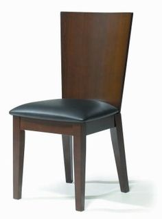 SIDE 82 Italian Style Dark Walnut Finish Chair With High Comfort Backrest And Black