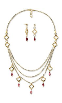 Jewelry Design - Triple-Strand Necklace and Earring Set with Gold-Plated Pewter Components, Gold-Finished Brass Chain and Swarovski Crystal - Fire Mountain Gems and Beads