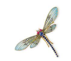 Dragon Flies..   Fine jewelry: diamond and enamel dragonfly brooch from the estate of Elizabeth Taylor