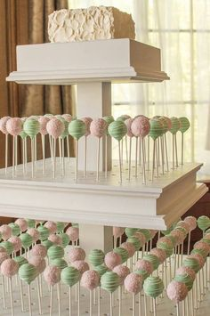Pink and Green Wedding Cake Pops with Rustic Iced Cutting Cake. Made by Carmen's Sweet Creations Maple Ridge, BC
