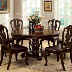 Bally English Style Brown Cherry Formal Round Dining Set