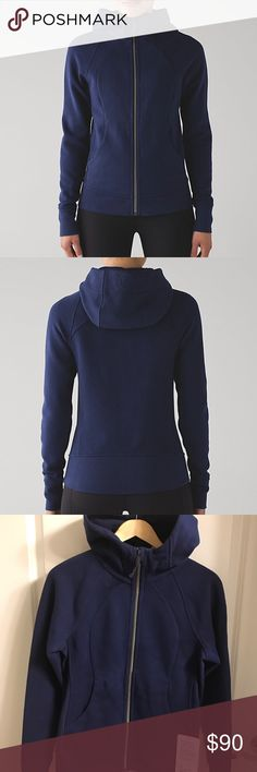 "NWT Women's Lululemon Scuba Hoodie IV, Sz 6 NEW with tags attached Women's Lululemon ""Scuba Hoodie IV"" in Hero Blue, Size 6. Breathable cotton fleece fabric; soft and cozy. Heat retention Measures 25 1/2"" long; 17"" armpit to armpit; sleeves 25"" long. Side pockets and thumb holes. You must have this hoodie!! :) lululemon athletica Jackets & Coats"