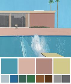 A Bigger Splash is a large pop art painting by British artist David Hockney. It depicts a swimming pool beside a modern house, disturbed by a large splash of water created by an unseen figure who has apparently just jumped in from a diving board. Illustration Arte, Illustration Inspiration, Inspiration Art, Art Inspo, David Hockney Pool, David Hockney Art, David Hockney Paintings, Arte Pop, Mam Sp