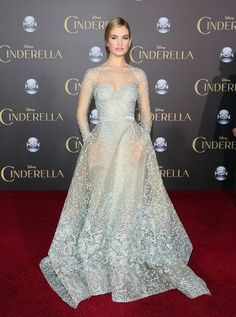 Lily James in Elie Saab couture at the Cinderella premiere