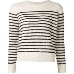 Saint Laurent Sequin Striped Sweater ($2,590) ❤ liked on Polyvore featuring tops, sweaters, white, yves saint laurent, white crew neck sweater, crew-neck sweaters, white long sleeve top and sequin sweater