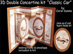 3D Double Concertina pop out Classic car  on Craftsuprint - View Now!