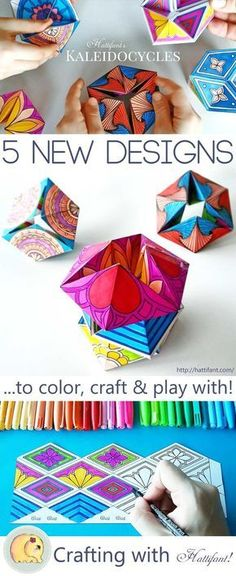 Hattifant's FREE new series of Kaleidocycles Flextangles - papertoy to color craft & play kaleidoscope papercraft paper toy coloring kaleidocycle flextangle Diy With Kids, Art For Kids, Crafts For Kids, Arts And Crafts, Foam Crafts, Math Art, Craft Free, 3d Craft, Color Crafts