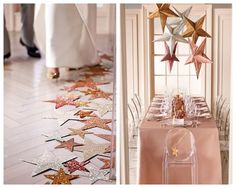 star aisle liner, hanging star table decor