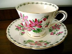 Tuscan Hand Painted Bone China Tea Cup & Saucer