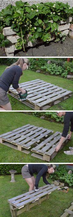 DIY Strawberry Pallet Planter   DIY Garden Projects Ideas Backyards   DIY Garden Decoartions Budget Backyard