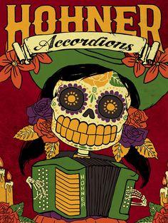 Hohner, the official accordion of dia de los muertos Accordion Music, Button Accordion, Sugar Scull, Polka Music, Day Of The Dead Skull, Folk, Arte Pop, Skull And Bones, Vintage Advertisements