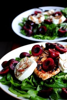 Almond encrusted warm Goat Cheese Spinach salad with Cherries. Packed full of iron, vitamins, minerals and protein!