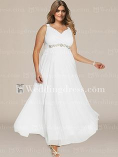 Plus size wedding dress features in great Chiffon. Surplice bodice accents a winsome V-neckline with subtle pleats.