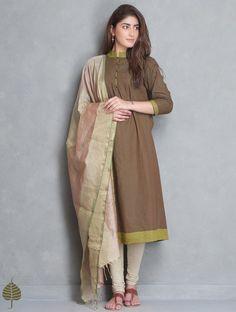 Buy Brown-Green Pleated Mangalgiri Kurta by Jaypore Online at Jaypore.com