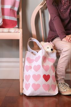 Heart stamp tote bag DIY