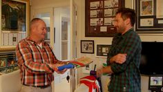 getting a sports memorabilia gift from Mr White during Episode 1 Season 1 of Man Caves, Amazing Spaces, Season 1, The Man, Men Casual, Gift, Sports, Mens Tops, Men Cave