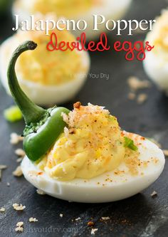 Jalapeno Popper Deviled Eggs-favorite brunch deliciousness! They're eggcellent. Ha!