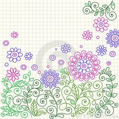Doodle Henna Flowers And Vines Vector