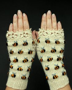Ivory Hand Knitted Fingerless Gloves With Bees Embroidery