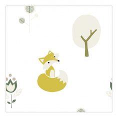 Behang op kinderkamer - vosjes en boompjes | Roodborstje