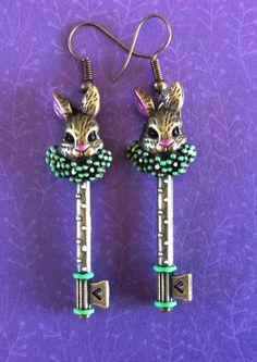 Alice in wonderland earrings. Rabbit earrings. Steampunk earrings. Gothic earrings. Long skeleton key earrings. Fairytale storybook jewelry by ArtisticEarsByPeggy on Etsy