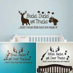 c08dc558 Rifles Racks & Deer Tracks That's What Little Boys Are Made Of - Wall Decal  Only- Baby Boy Nursery Decor - Hunting Theme Camo Deer Room Crib