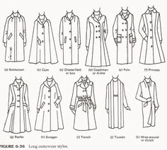 style Fashion drawing - Fashion infographic : Fashion infographic : Different types of long coats - Fashion Show Fashion Terminology, Fashion Terms, Fashion Videos, Couture Fashion, Fashion Fashion, Fashion Jewelry, Fashion Design Drawings, Fashion Sketches, Drawing Fashion