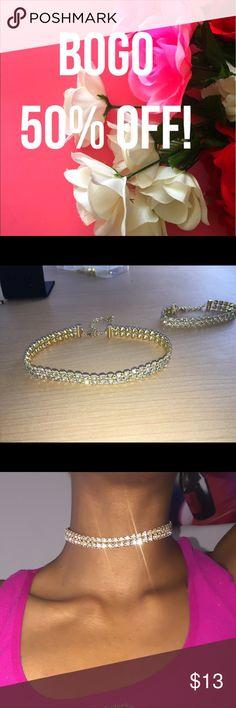 🌷Handmade🌷Princess Choker Set Handmade Princess Rhinestone Choker + Matching Bracelet with Gold Lobster Clasps & Adjustable Chain Length on SALE!❤✨ Maneka Monette Jewelry