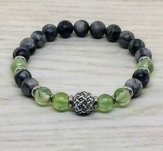 ~ Bracelets by Karen ~ Prehnite and Black Picasso Jasper with Stainless Steel Spacers and a Silver Focal Bead