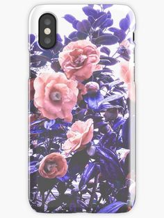 """""""Wild Roses - Ultra Violet and Coral"""" iPhone Cases & Skins by Dominiquevari 