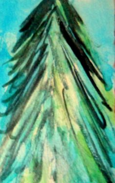 "ATC ACEO original ""Tree,"" by STACEY TORRES, Watercolor #FolkArt"