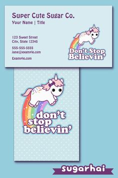 Kawaii business cards for your cute business personalize these super cute rainbow unicorn business card templates colourmoves